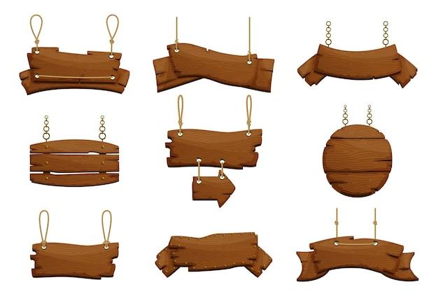 Desenhos de sinais de madeira de várias formas Vetor Premium
