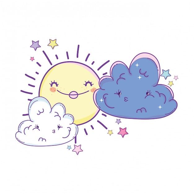 Desenhos de sol e nuvens Vetor Premium