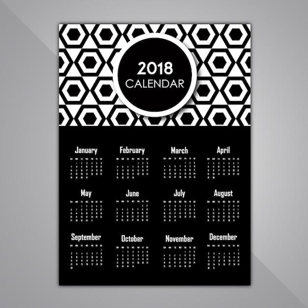 Desenhos em preto e branco do calendário de padrões Vetor grátis