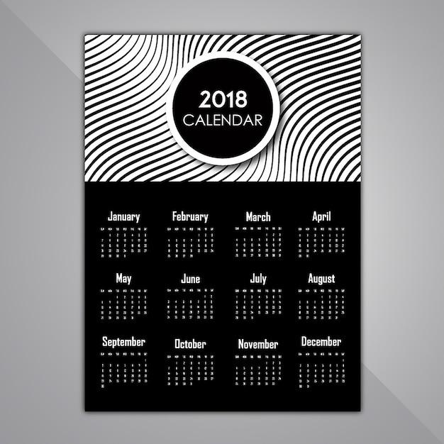 Desenhos em preto e branco do calendário de padrões Vetor Premium