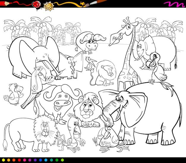 Desenhos Para Colorir Animais Safari Vetor Premium