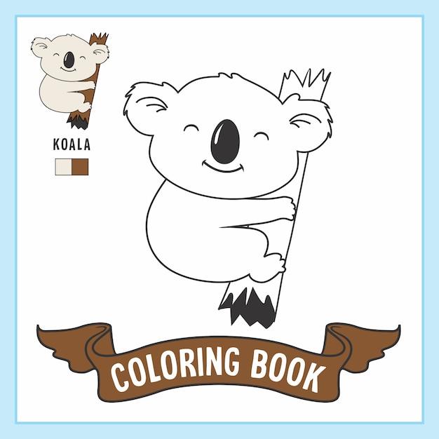 Desenhos para colorir koala animals Vetor Premium