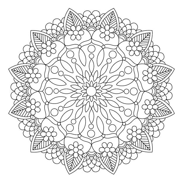 Desenhos Para Colorir Mandala Imprimivel Para Adultos Vetor Premium