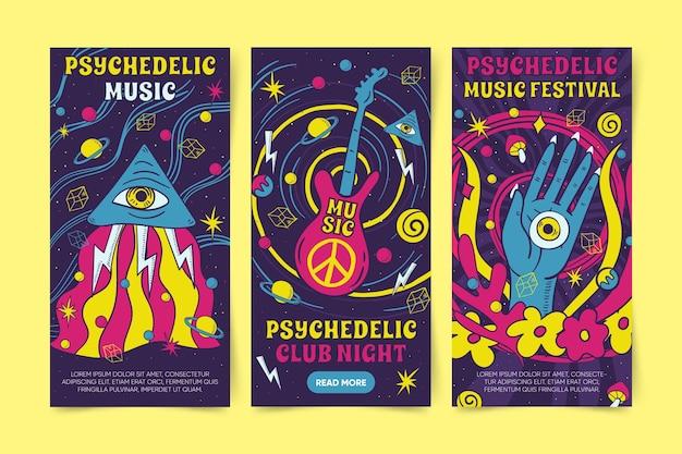 Desenhos psicodélicos de banners Vetor grátis