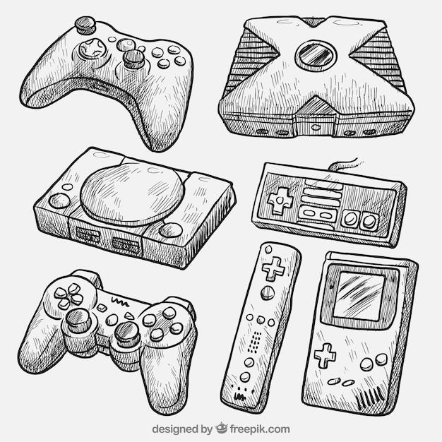 Desenhos realistas de diferentes consoles Vetor grátis