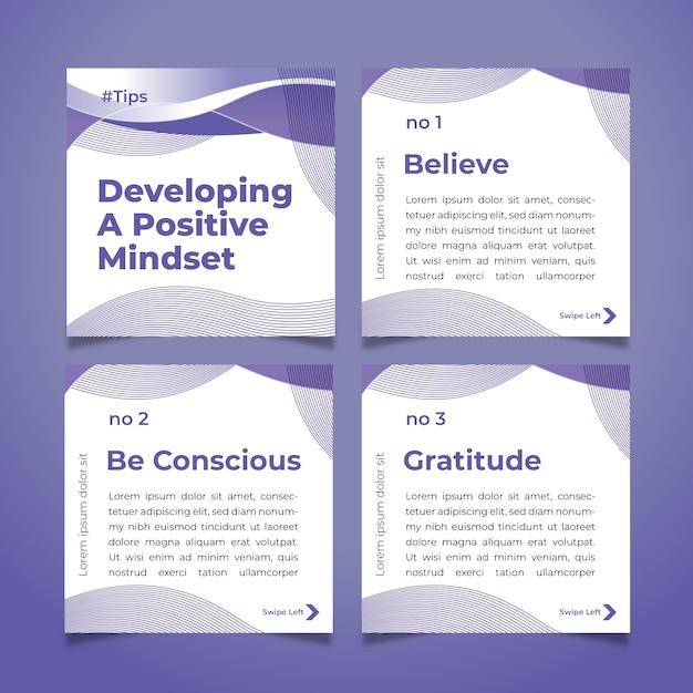 Desenvolva dicas positivas de mentalidade no conjunto de postagens do instagram Vetor grátis