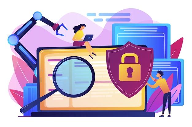 Desenvolvedores, robôs trabalham no laptop com lupa. cibersegurança industrial, malware de robótica industrial, proteção do conceito de robótica industrial. ilustração isolada violeta vibrante brilhante Vetor grátis