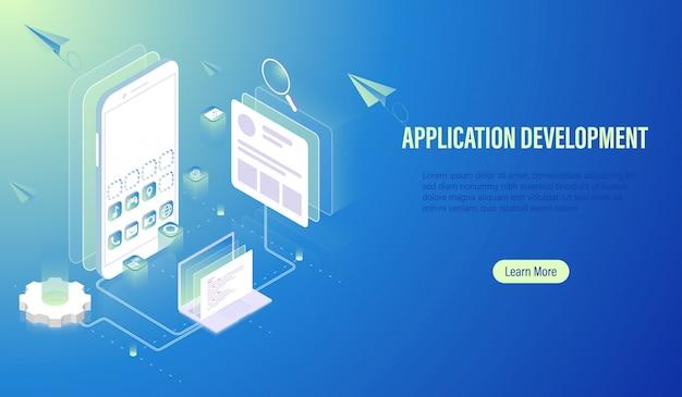 Desenvolvimento de aplicativos móveis e construção de software. Vetor Premium