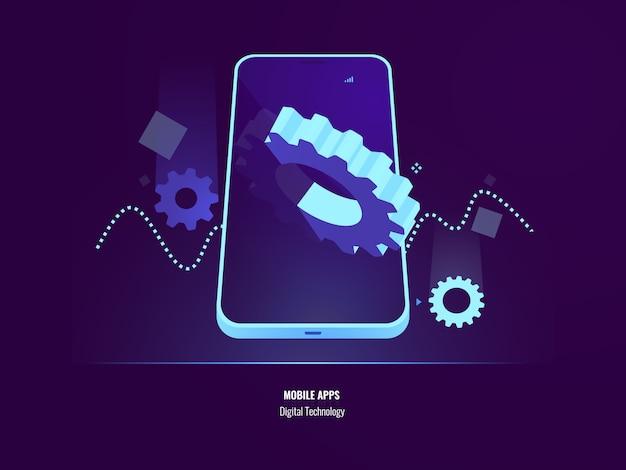 Desenvolvimento de aplicativos móveis, instalação de aplicativos e atualização de conceito, configuração de smartphone Vetor grátis