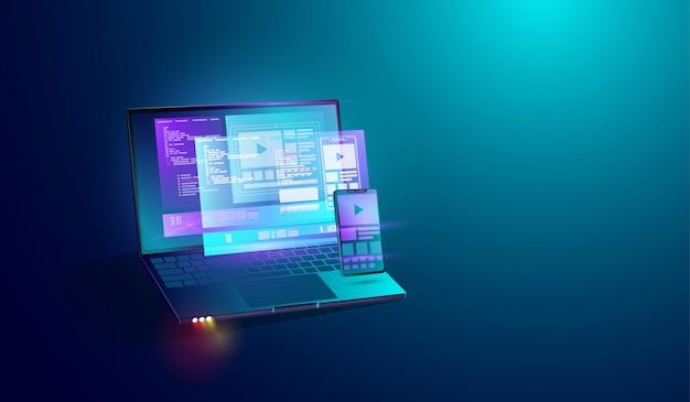 Desenvolvimento de aplicativos móveis na tela do laptop Vetor Premium