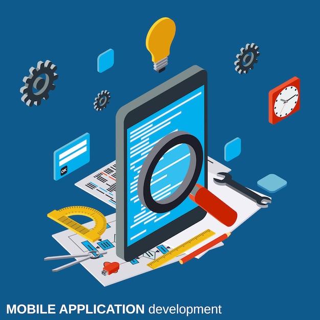 Desenvolvimento de aplicativos móveis plano isométrico vector conceito ilustração Vetor Premium