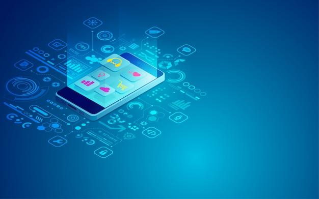Desenvolvimento de aplicativos para dispositivos móveis Vetor Premium