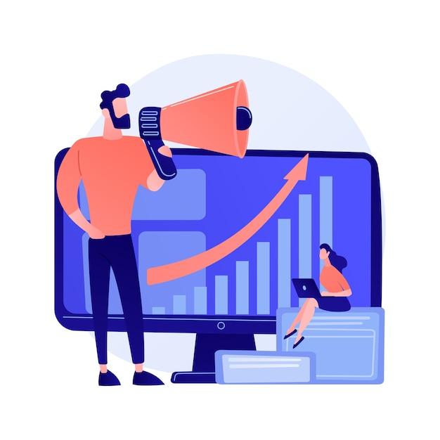 Desenvolvimento de negócios. desenvolvimento de mercado, expansão de negócios, propaganda, marketing. infográfico e análises estatísticas. ilustração do conceito de gerente corporativo Vetor grátis