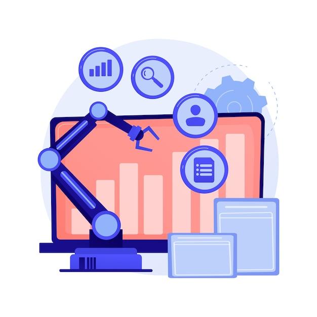Desenvolvimento de negócios online, crescimento gradual, tendência positiva. indicador de ganho, gráfico de estatísticas, diagrama. personagem de desenho animado de analista. Vetor grátis