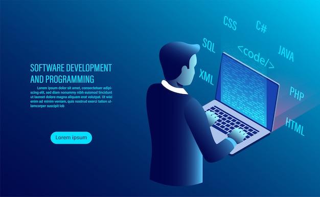 Desenvolvimento de software e codificação. programação de conceito. processamento de dados. código de computador com interface de janela. Vetor Premium