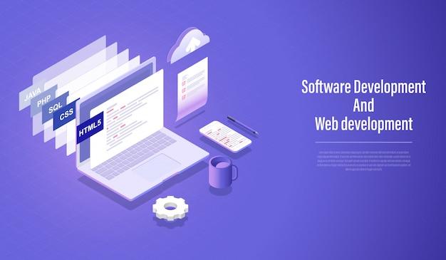 Desenvolvimento de software e conceito isométrico de desenvolvimento web Vetor Premium