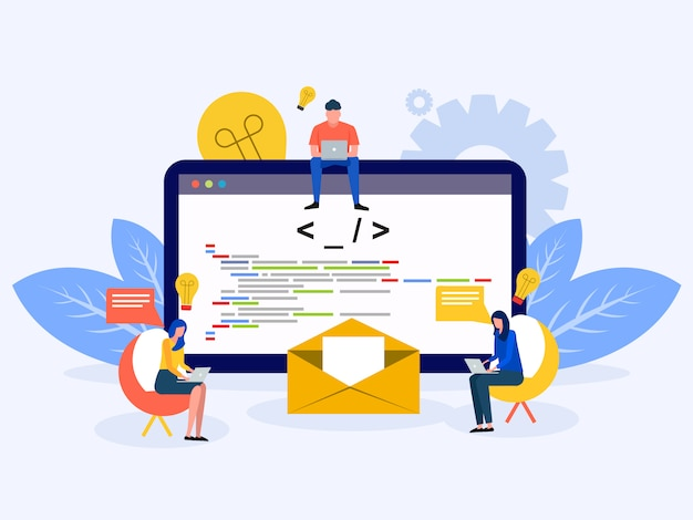 Desenvolvimento de software e programação Vetor Premium