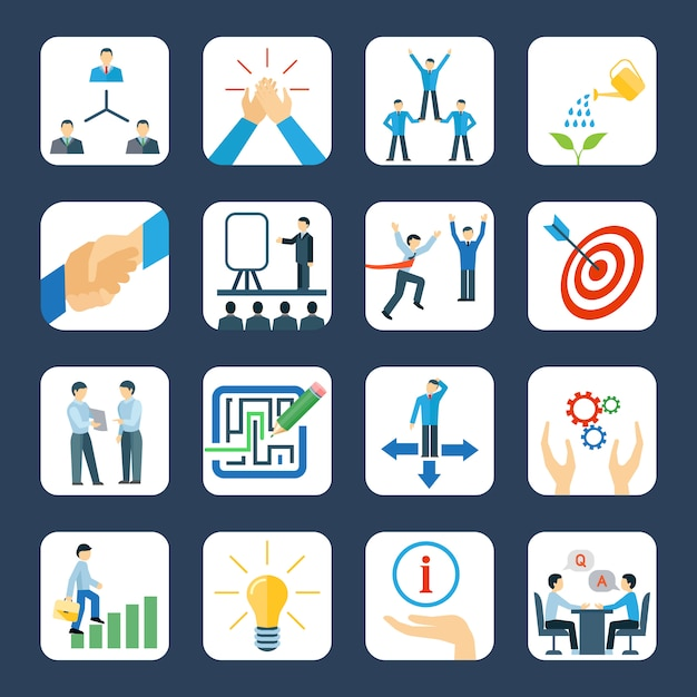 Desenvolvimento pessoal e trabalho em equipe, mentoring, programas de negócios, conjunto de ícones planas Vetor grátis