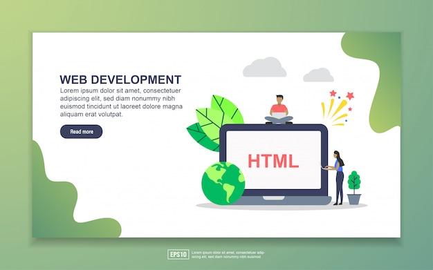 Desenvolvimento web com pequena página de destino de personagem de pessoas Vetor Premium