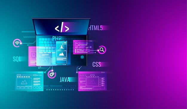 Desenvolvimento web e programação no laptop e smartphone Vetor Premium