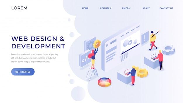 Desenvolvimento web isométrico Vetor Premium