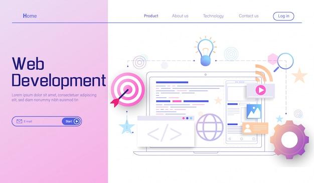 Desenvolvimento web moderno, desenvolvimento de aplicativos móveis, codificação e programação Vetor Premium