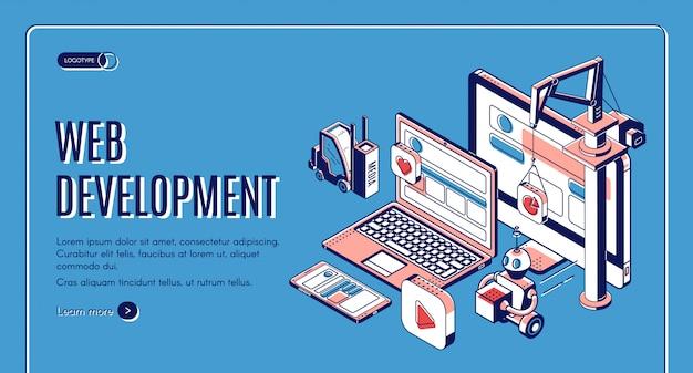 Desenvolvimento web, página inicial da construção do site Vetor grátis