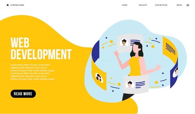 Desenvolvimento web Vetor Premium