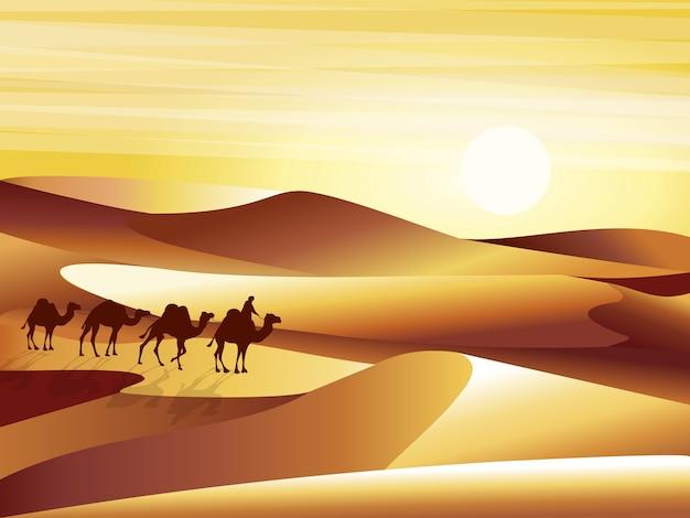 Deserto de fundo de paisagem com ilustração de dunas, barkhans e caravana de camelos. Vetor Premium