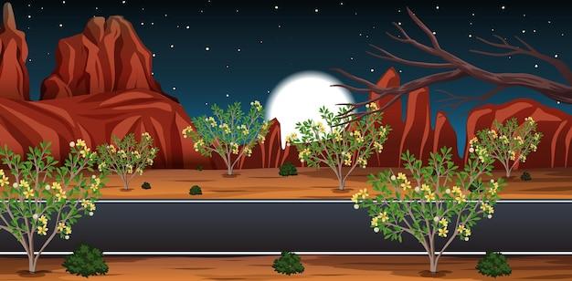 Deserto selvagem com paisagem de longa estrada à noite Vetor Premium