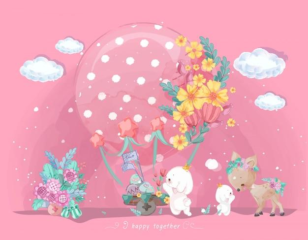 Desfile de mão desenhada doodle animais. Vetor Premium