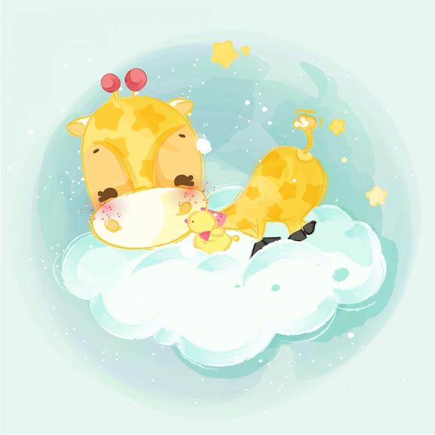Desfile de mão desenhada os animais fofos. ilustração vetorial Vetor Premium