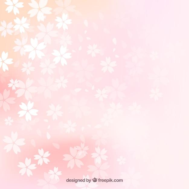desfocado flores de cerejeira fundo vetor grtis