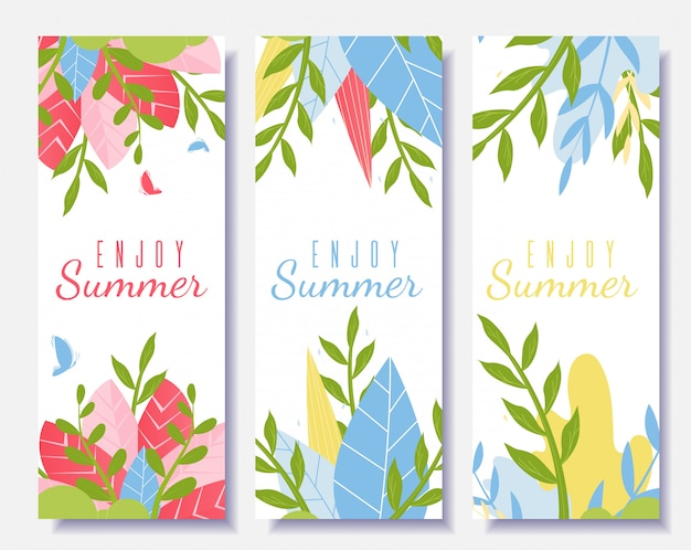 Desfrute de flyer de motivação de verão definido no estilo cartoon Vetor grátis