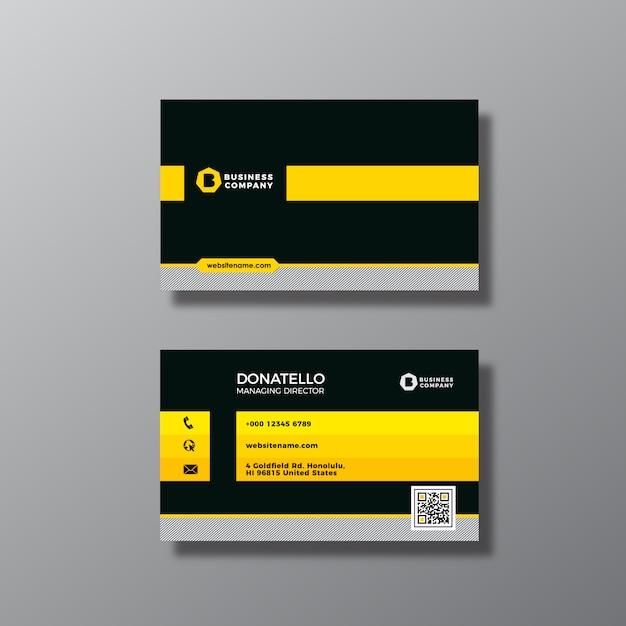 Desig preto e amarelo do cartão Vetor grátis