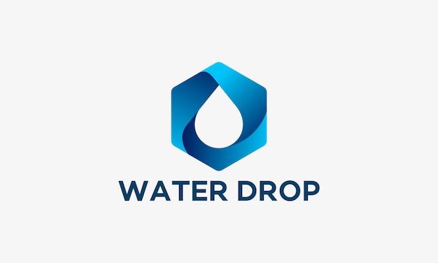 Design 3d modelo de logotipo de gota de água, ilustração Vetor Premium