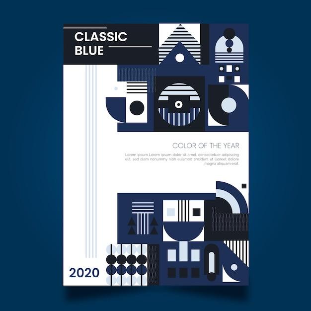 Design abstrato do modelo de panfleto azul clássico Vetor grátis