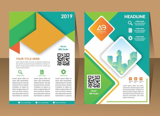 Design anual relatório capa vetor modelo folhetos folhetos Vetor Premium