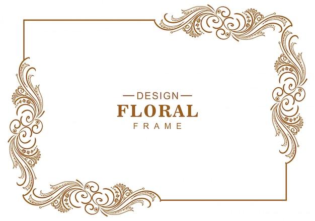 Design artístico decorativo de moldura floral Vetor grátis