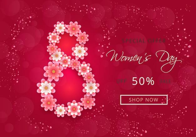 Design atraente banner para venda de dia das mulheres com flores de corte de papel e rosa Vetor Premium