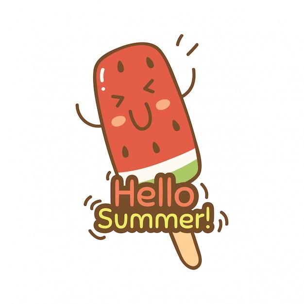 Design bonito com sorvete de melancia Vetor Premium