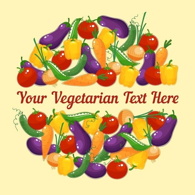 Design circular para cartão vegetariano com vegetais frescos coloridos e vívidos Vetor grátis
