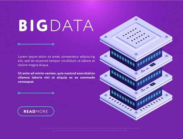 Design colorido de página da web com banco de dados Vetor Premium