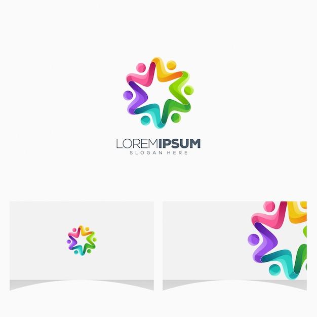 Design colorido impressionante do logotipo dos povos Vetor Premium