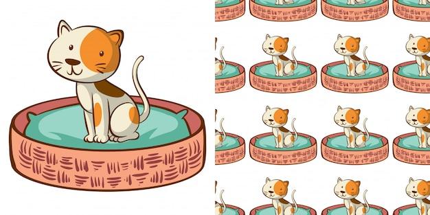 Design com gato bonito padrão sem emenda na cesta Vetor grátis