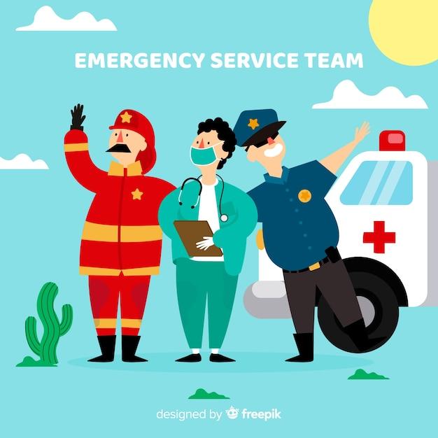 Design criativo de equipe de emergência plana Vetor grátis
