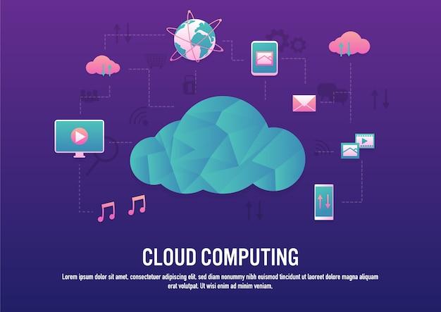 Design criativo de tecnologia de computação em nuvem Vetor Premium