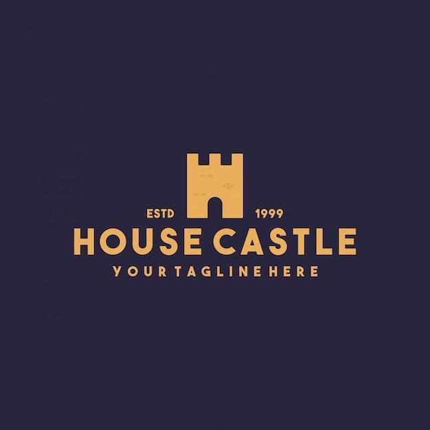 Design criativo do logotipo do castelo da casa Vetor Premium