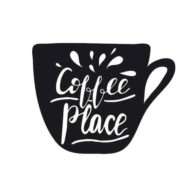 Design da bandeira com letras faça-me um café. ilustração do vetor. Vetor Premium