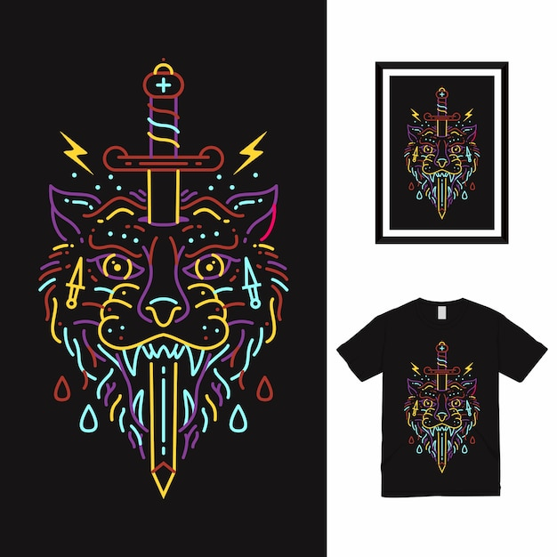Design da camisa wolf and sword line art t Vetor Premium